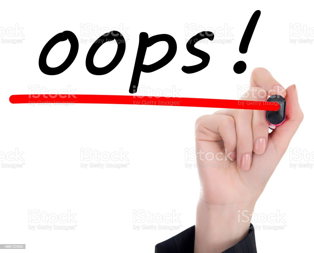 Hand writing Oops! stock photo