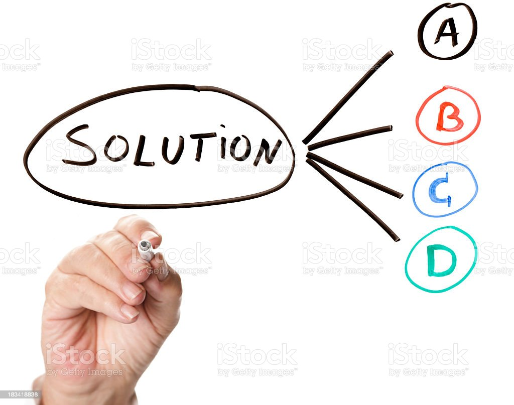 Hand writing out solutions A, B, C and D in marker royalty-free stock photo