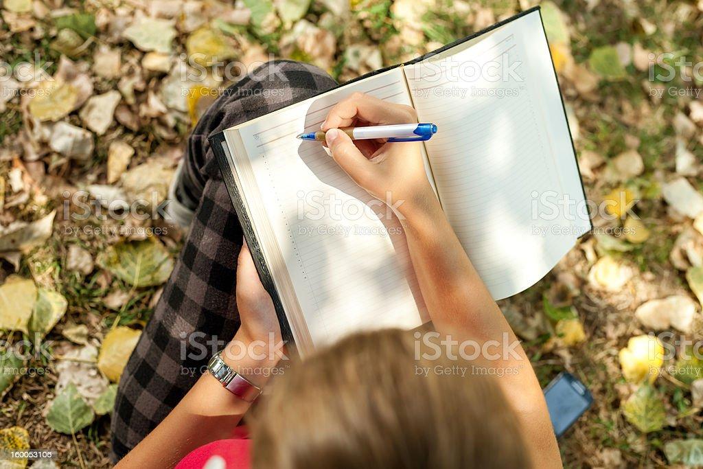 hand writing stock photo