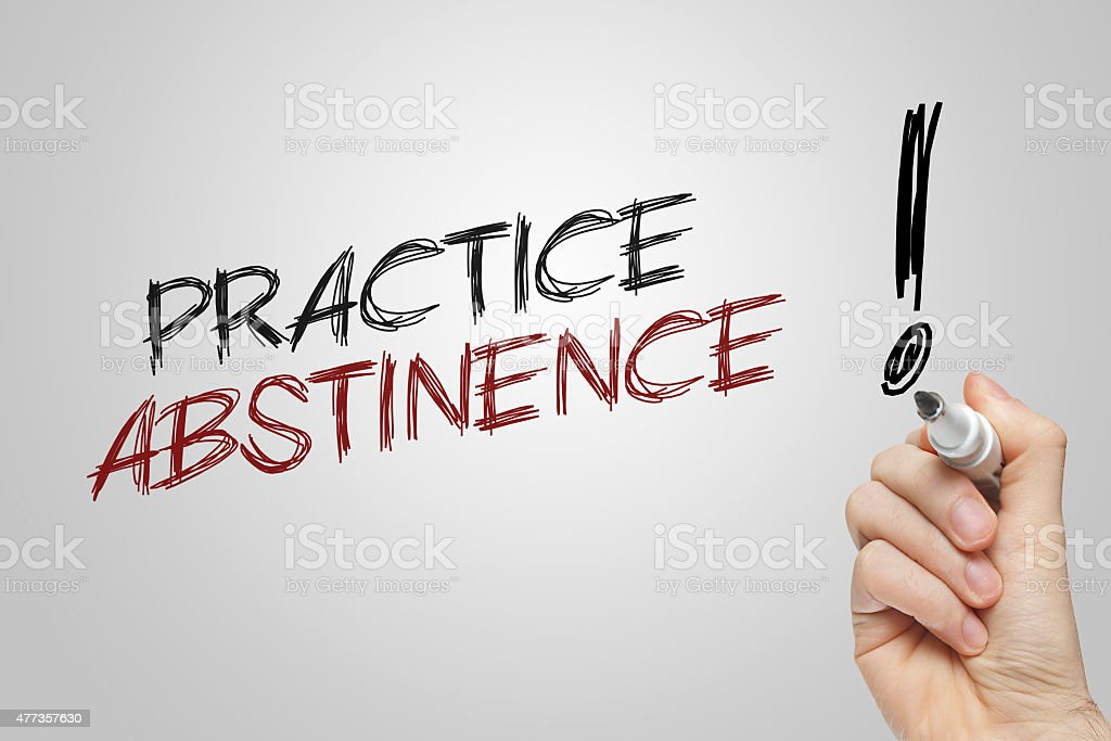 Hand writing practice abstinence stock photo