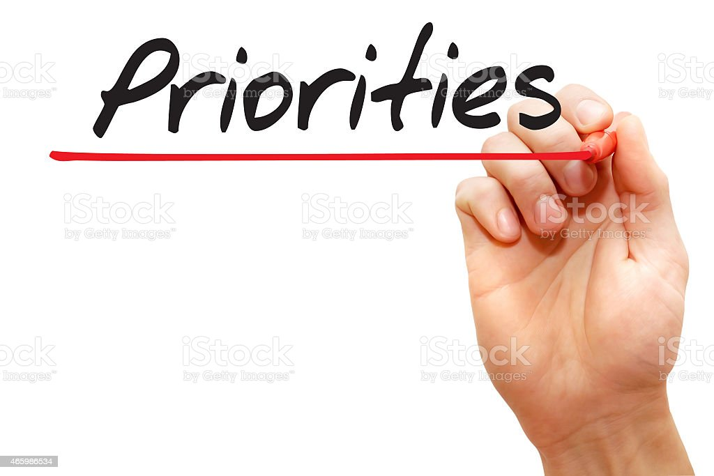 Hand writing Priorities, business concept stock photo
