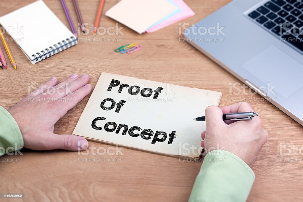 Hand writing Proof of Concept stock photo