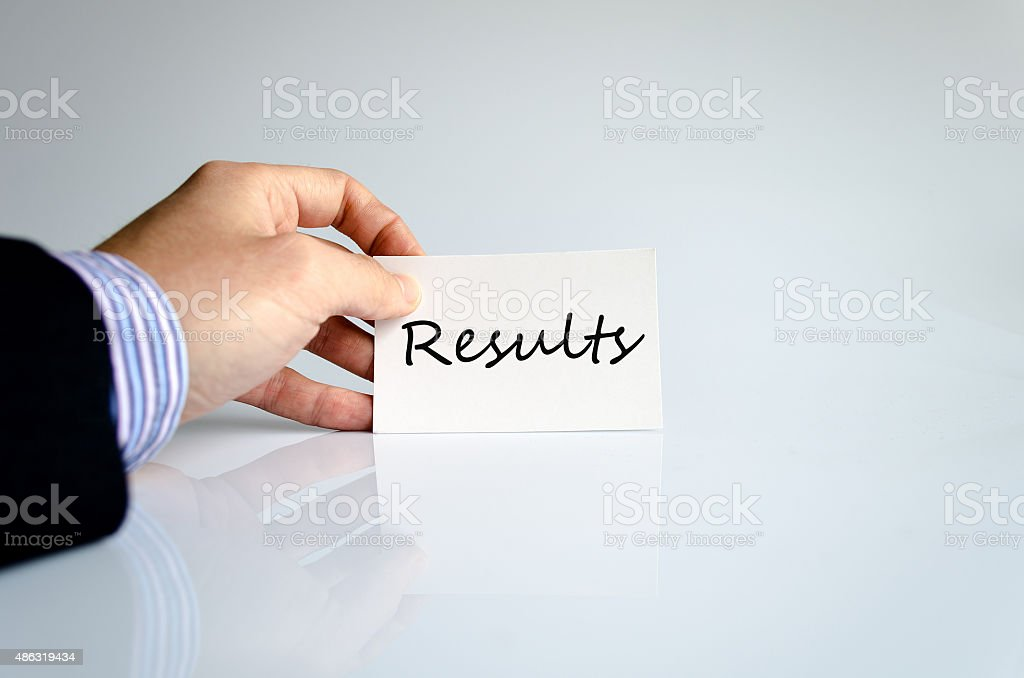 Hand writing results stock photo
