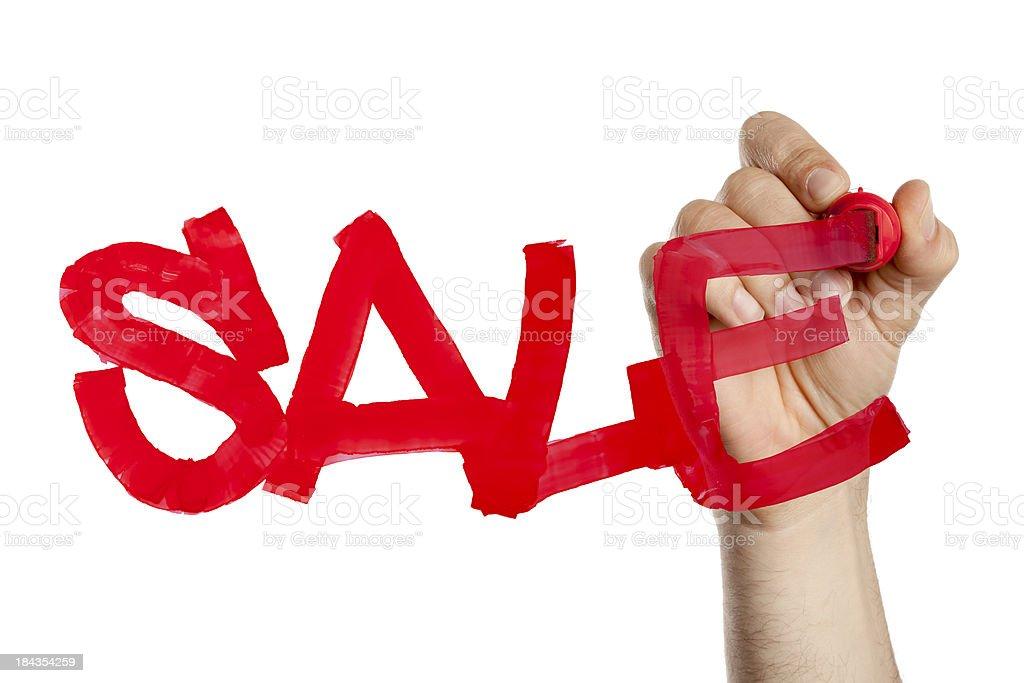 Hand writing sale on window stock photo