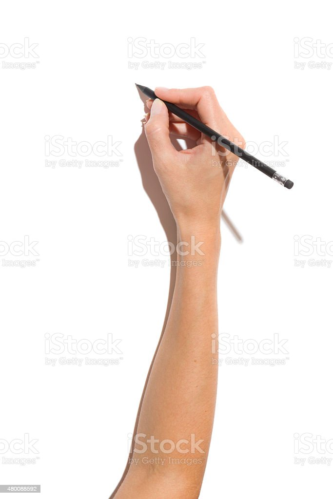 Hand Writing Something stock photo
