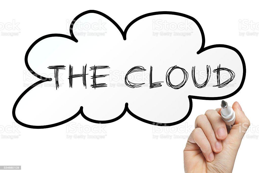 Hand writing the cloud stock photo