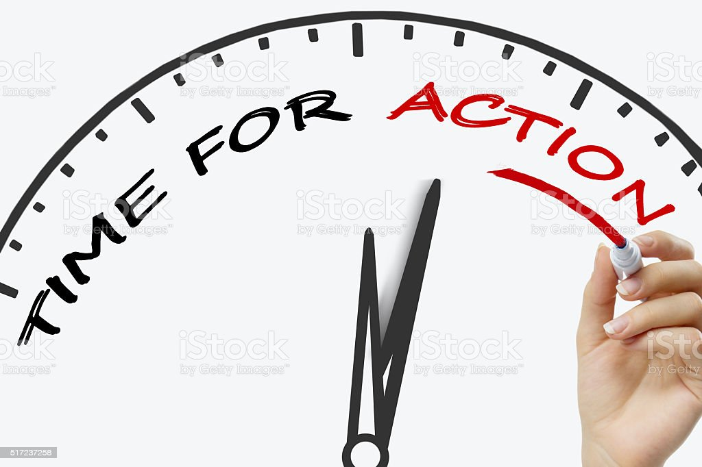 Hand writing TIME for action  concept with red marker on stock photo