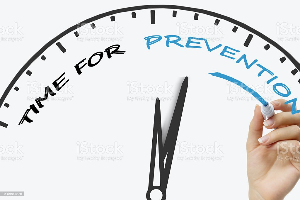 Hand writing Time For Prevention concept with blue marker on stock photo