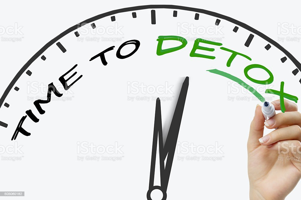 Hand writing Time to Detox concept with green marker on stock photo