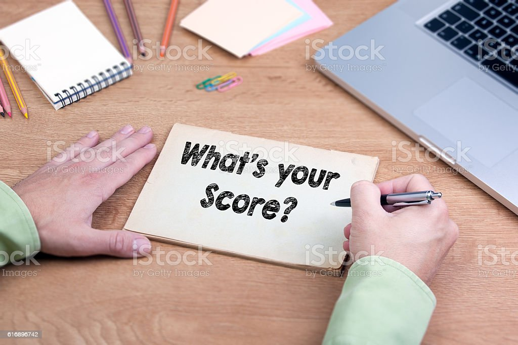 Hand writing What's your Score? stock photo
