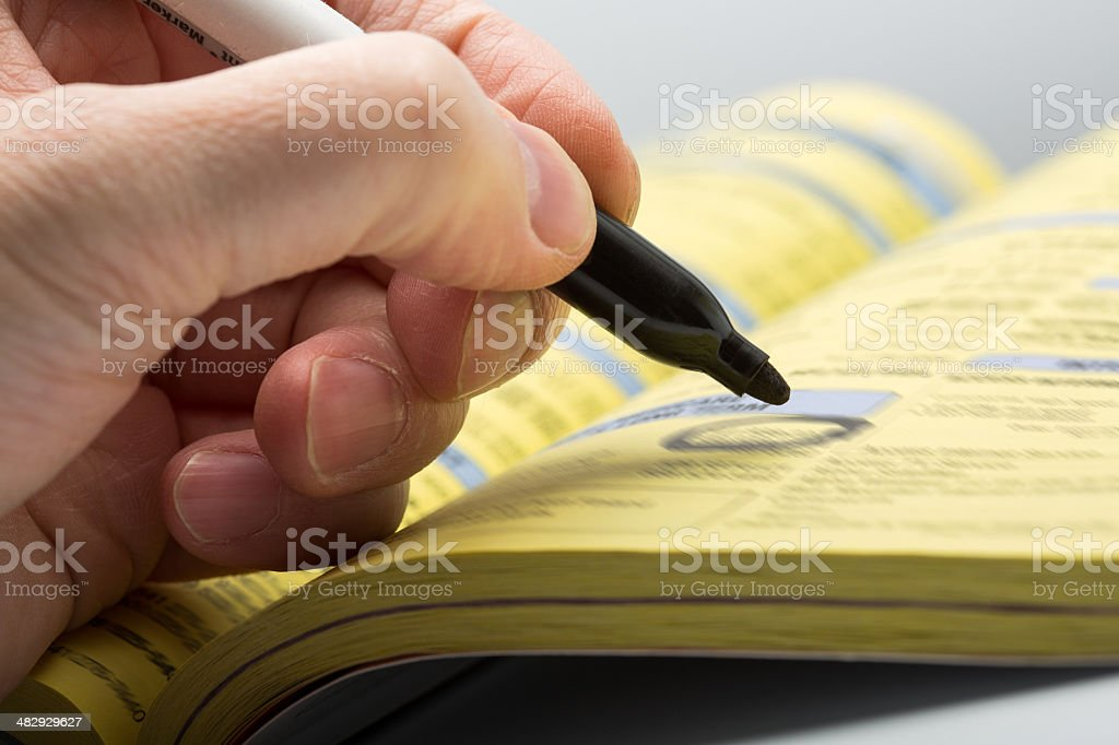 Hand writing with marker stock photo