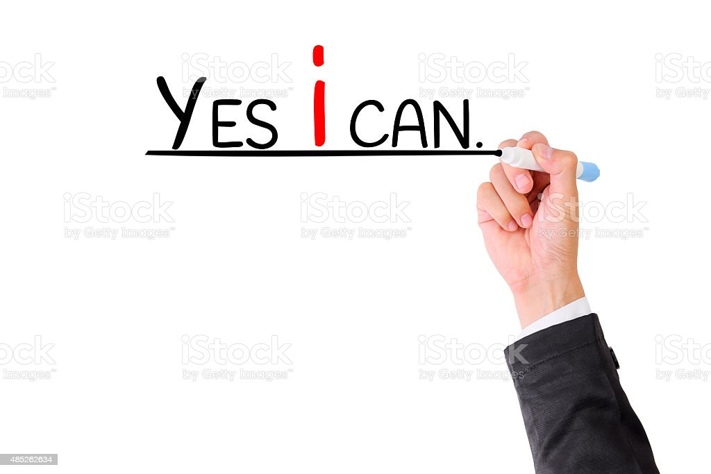 Hand writing YES I  CAN  on visual screen. stock photo