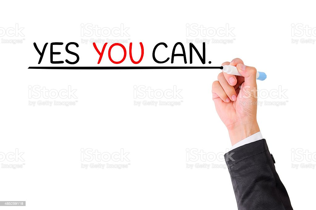 Hand writing YES YOU CAN  on visual screen. stock photo