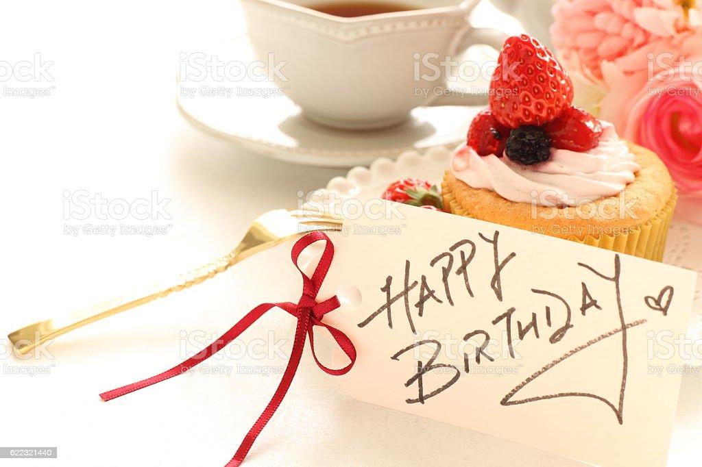 Hand written birthday card with cake stock photo