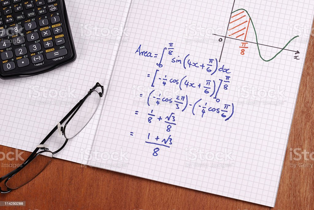 Hand written calculation for the area under a curve royalty-free stock photo