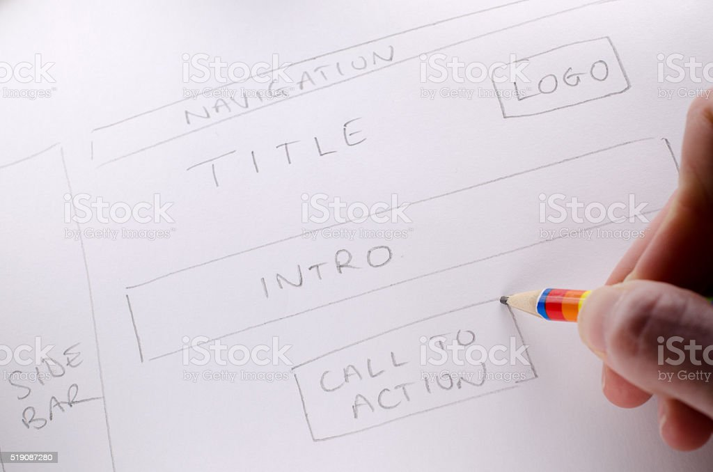 Hand written design showing layout and plan of new website stock photo