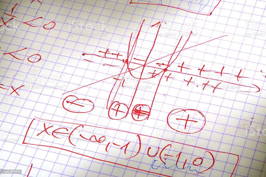 hand written maths calculations in red royalty-free stock photo