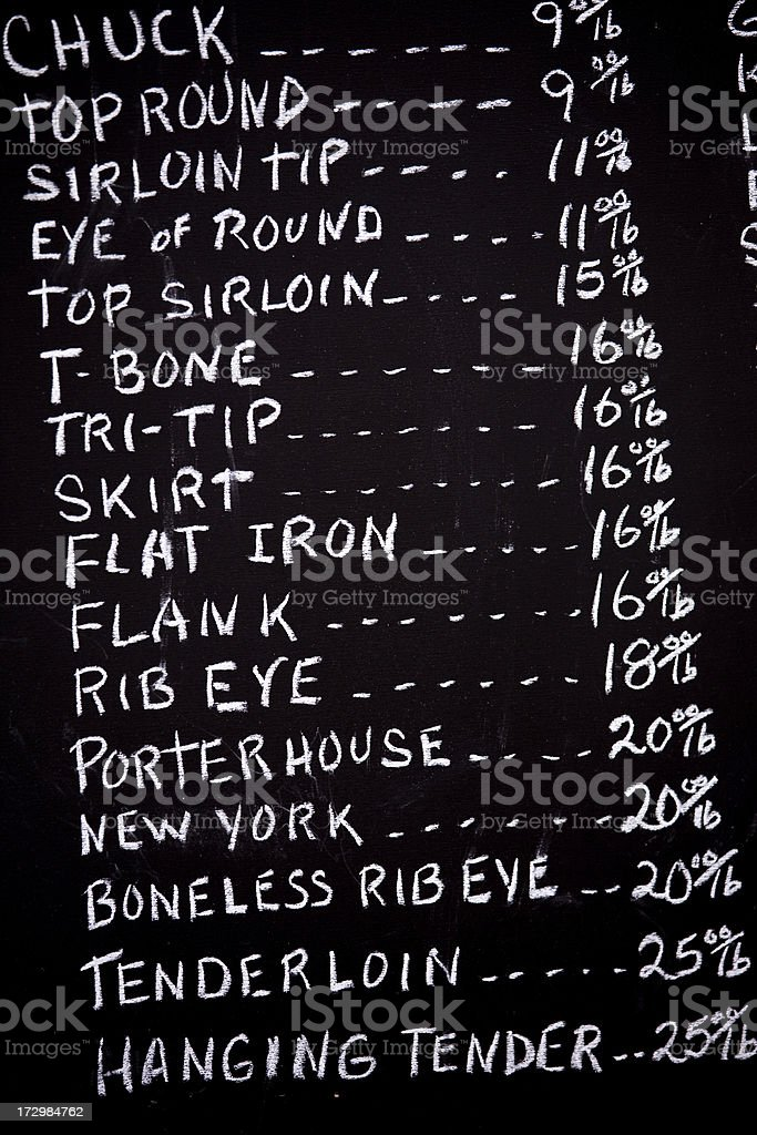 Hand written menu for butcher shop royalty-free stock photo