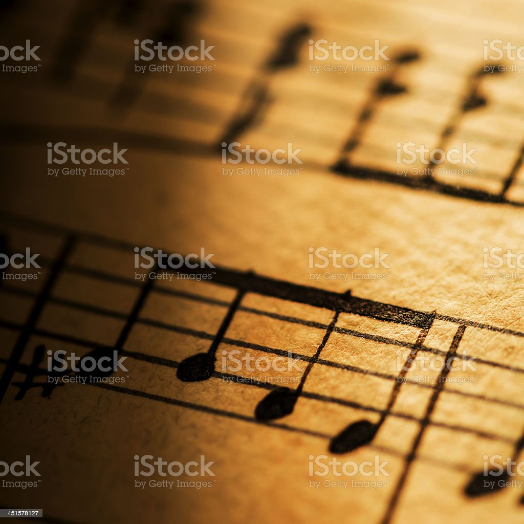 Hand written music notes stock photo