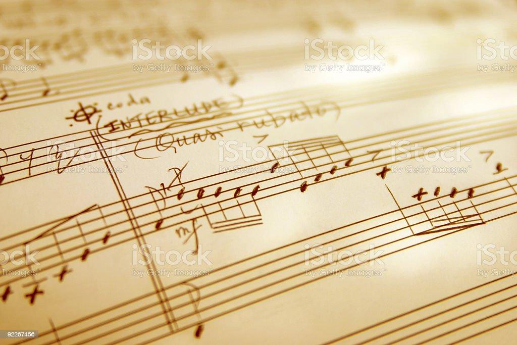 Hand written music sheet royalty-free stock photo