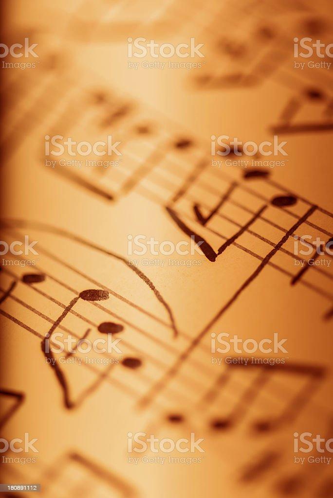 Hand written musical notes stock photo