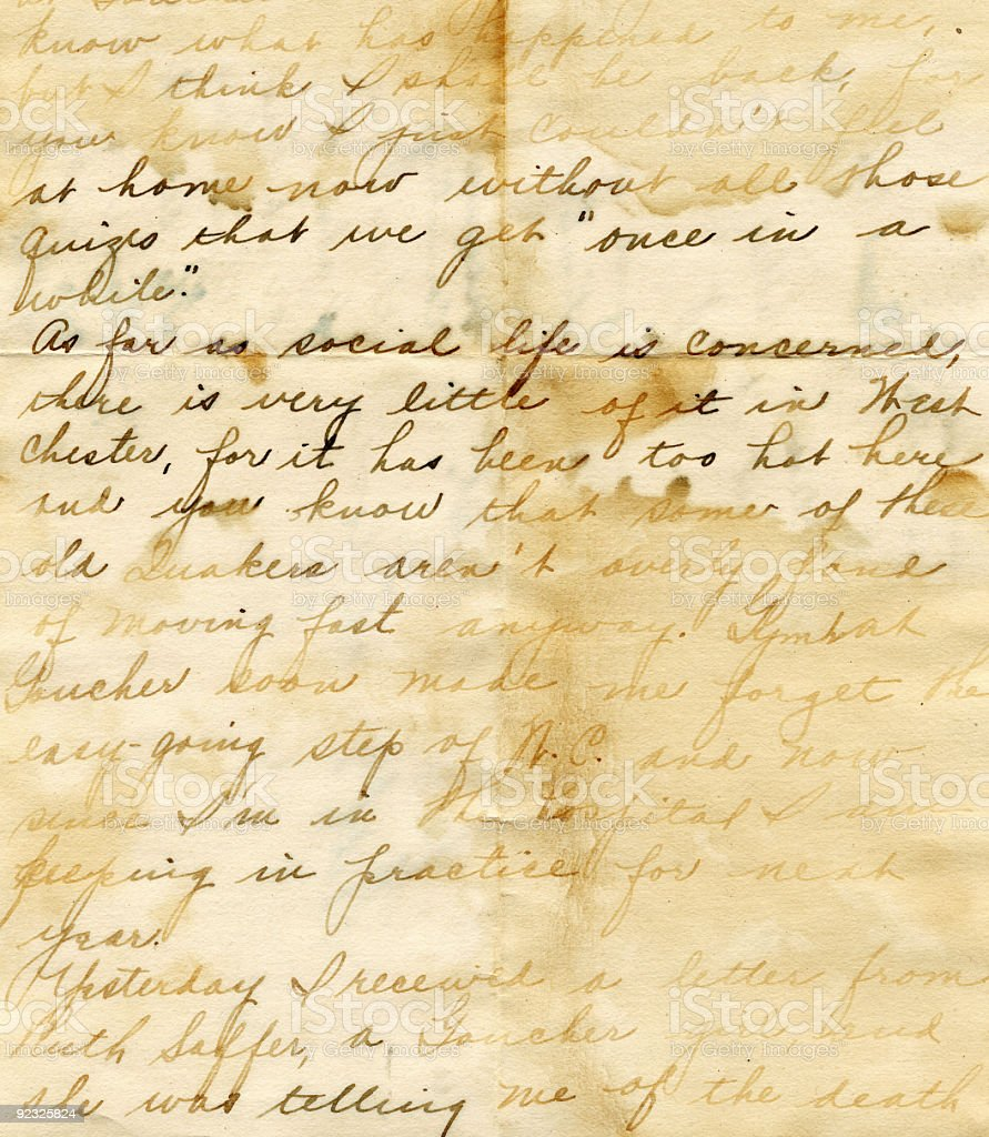 Hand written water damaged vintage letter royalty-free stock photo