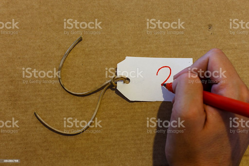 hand writting label closeup stock photo