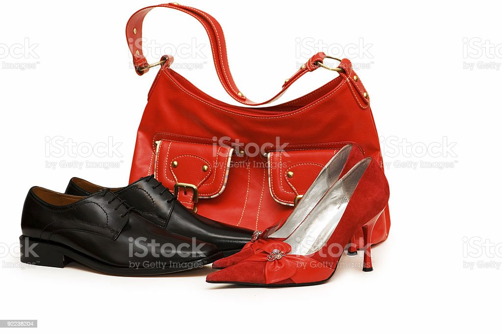 Handbag and shoes isolated on the white royalty-free stock photo