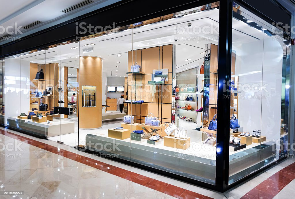 handbag retail fasion store and showcase. stock photo