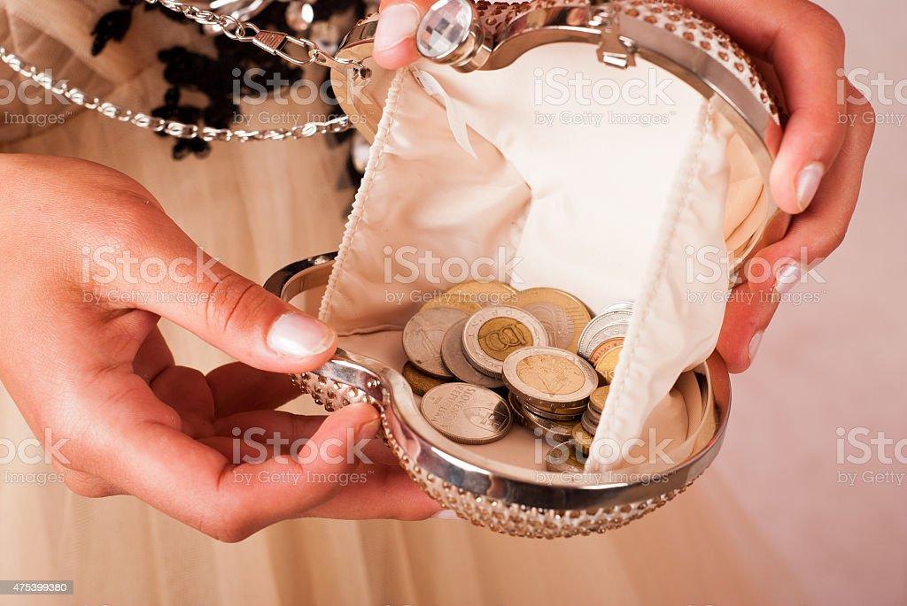 Handbag con monedas foto de stock libre de derechos