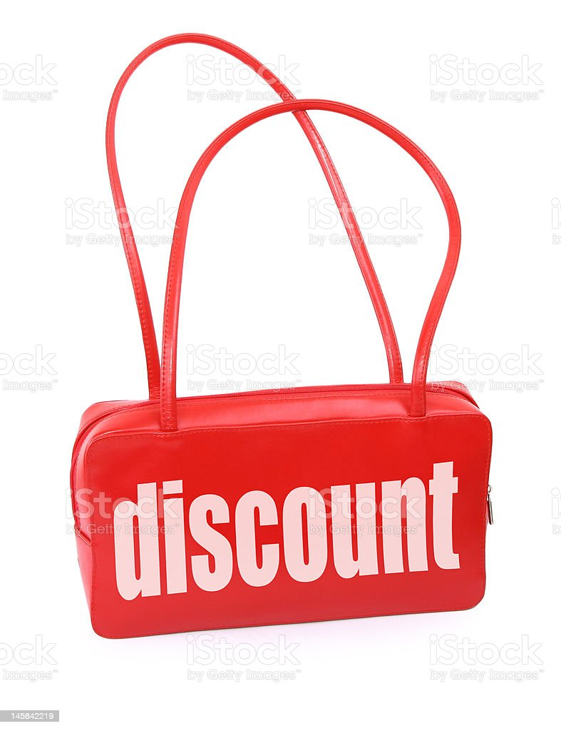 handbag with discount sign royalty-free stock photo