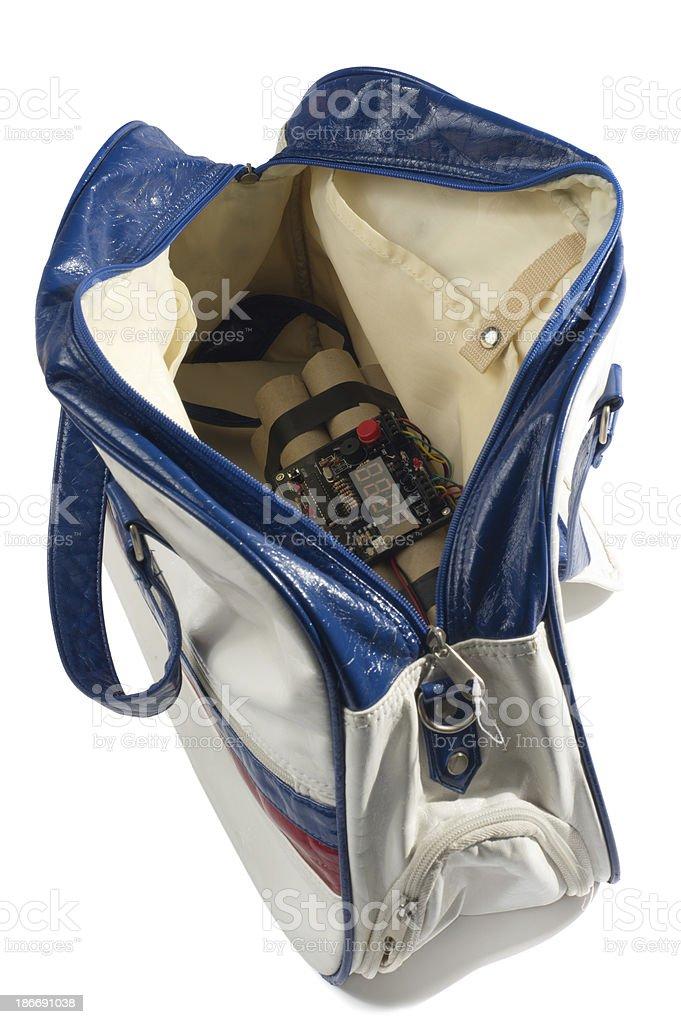 Handbag with Time Bomb royalty-free stock photo