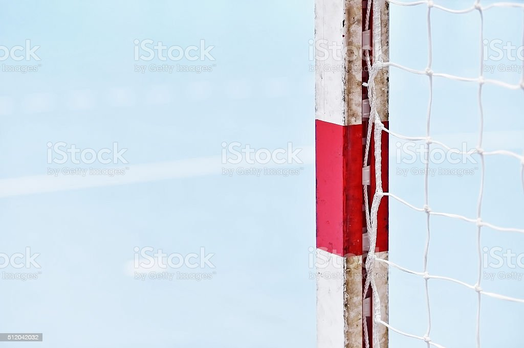 Handball goalpost detail stock photo