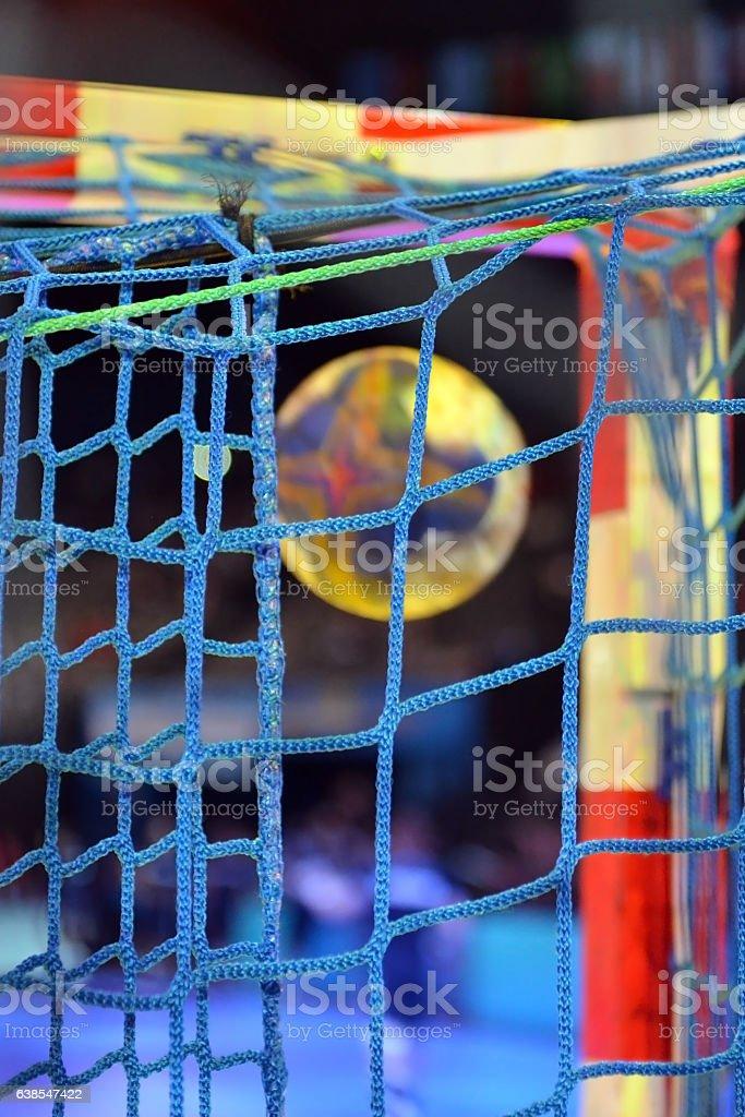 Handball in the goalnet stock photo