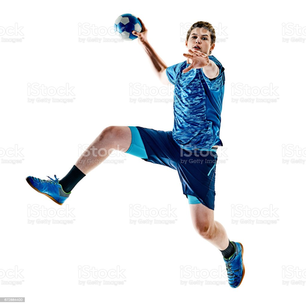 handball player teenager boy isolated stock photo