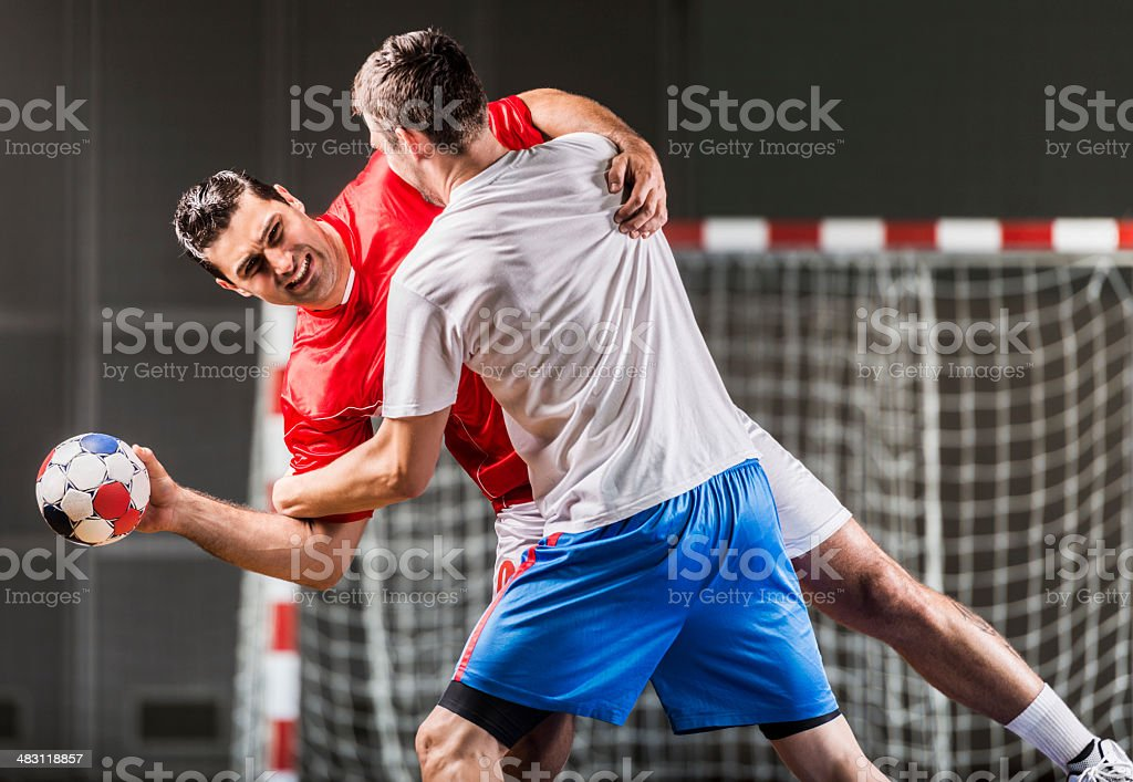Handball players in action. royalty-free stock photo