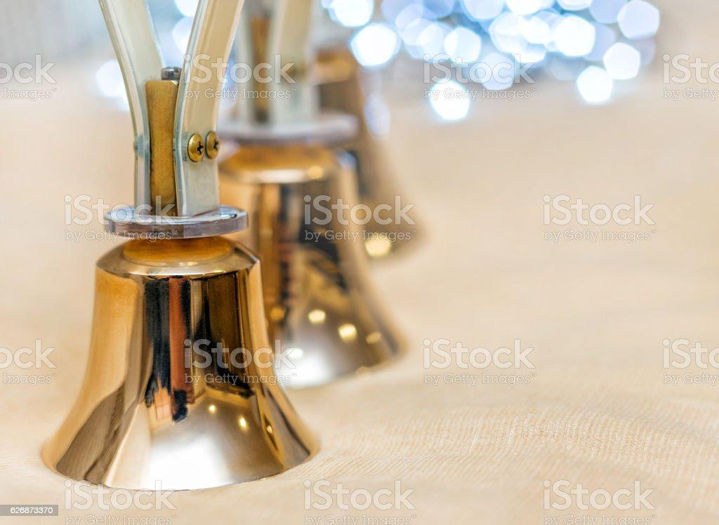 Handbells ready to play stock photo