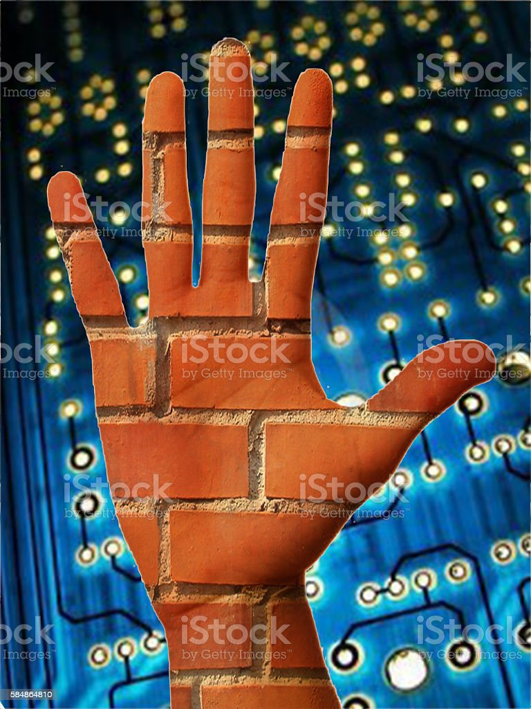 Handbricks on electronics stock photo