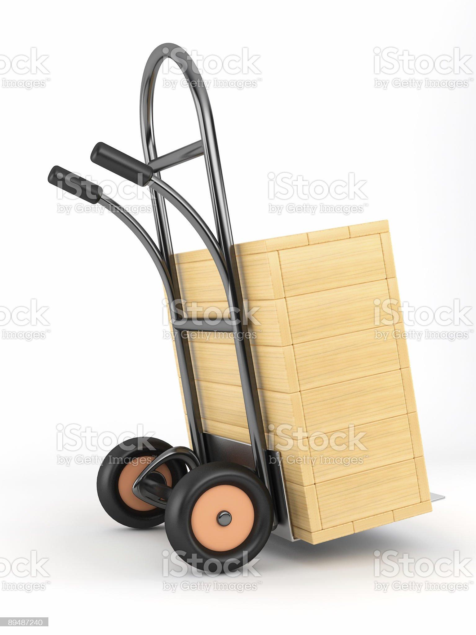 handcart and box royalty-free stock photo