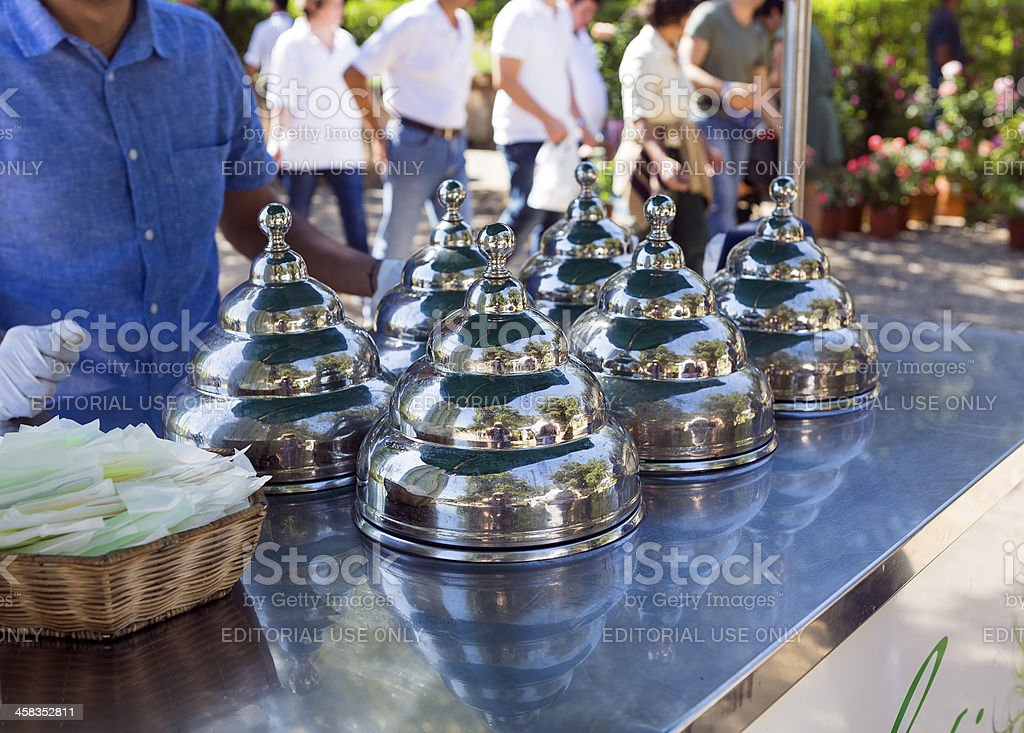 Handcart for the sale of ice cream royalty-free stock photo