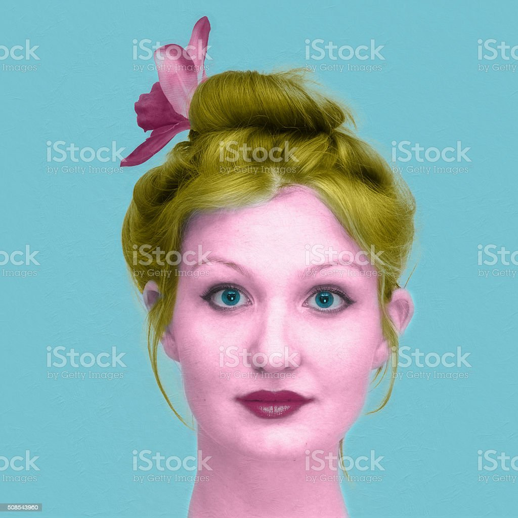 hand-colored portrait of a young woman stock photo