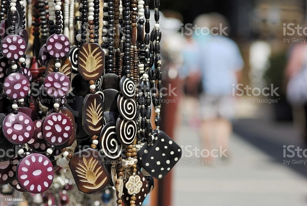 Handcraft Necklaces at Spanish market stock photo