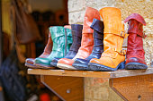 Handcrafted boots exposure to Pienza, Tuscany