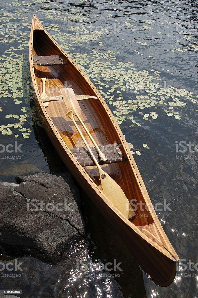 Handcrafted cedar strip canoe royalty-free stock photo