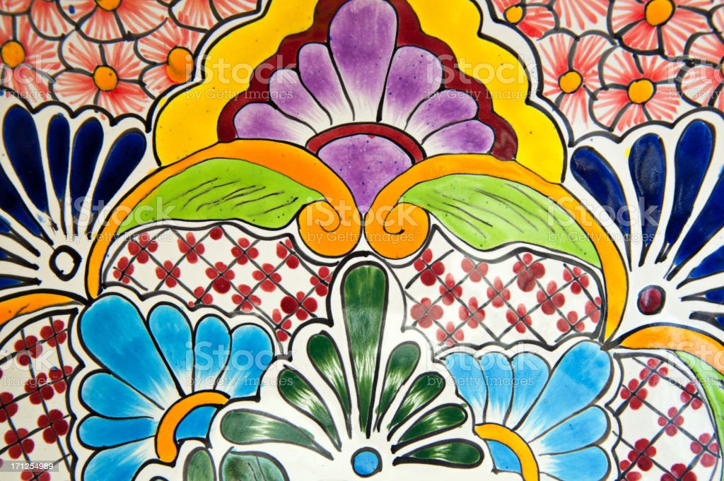 Handcrafted Mexican Ceramic Pottery Detail, Talavera stock photo