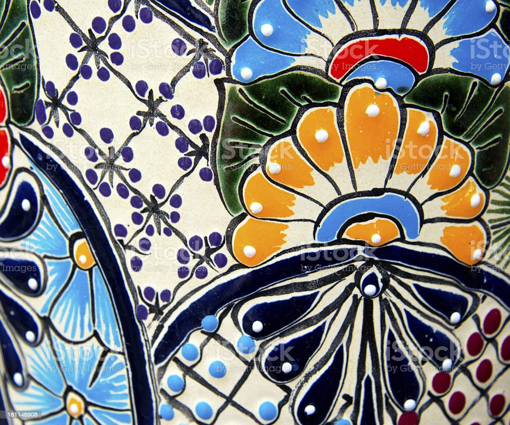 Handcrafted Mexican Ceramic Pottery Detail, Talavera royalty-free stock photo