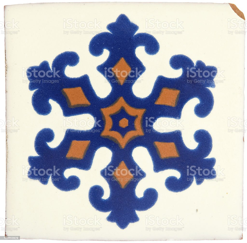 Handcrafted Mexican Ceramic Tile royalty-free stock photo