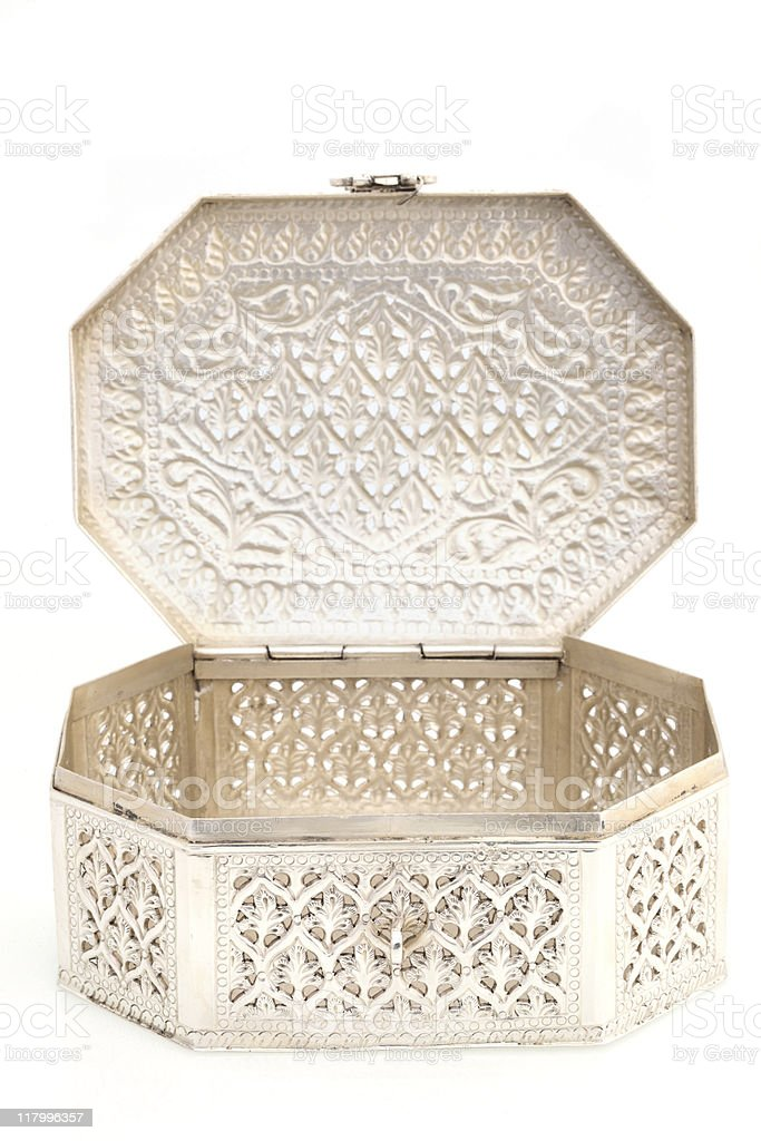 Handcrafted Silver Jewelry Box royalty-free stock photo