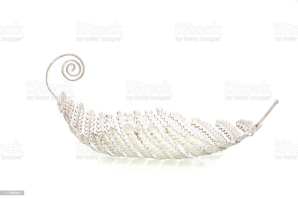 Handcrafted Silver Leaf shaped Fruit Basket stock photo