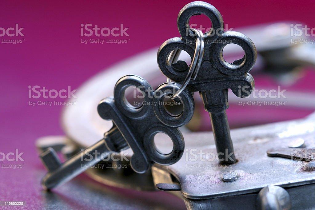Handcuffs and Keys royalty-free stock photo